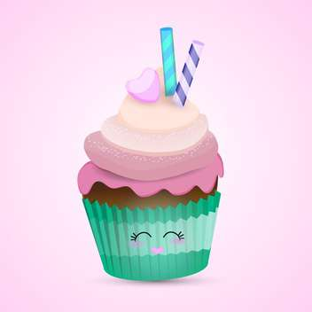 colorful illustration of lovely pink cupcake with cute eyes and heart shape lips on pink background - vector gratuit #125731