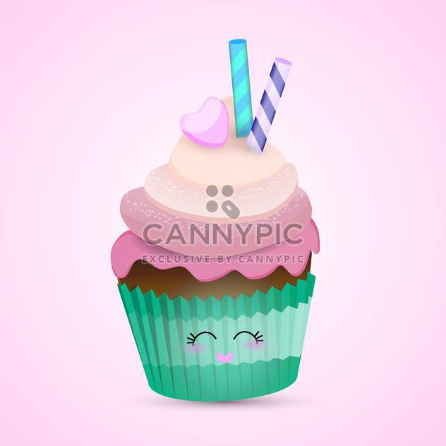 colorful illustration of lovely pink cupcake with cute eyes and heart shape lips on pink background - Free vector #125731