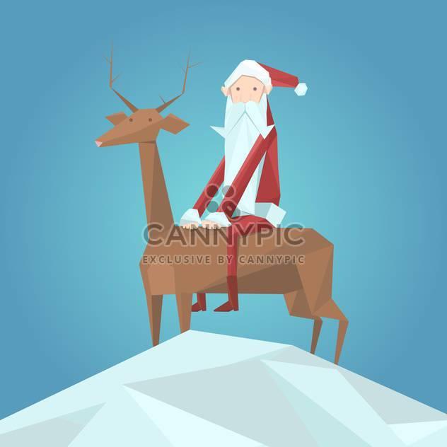 Vektor-Illustration der Weihnachtsmann in Roter Hut sitzt auf Rentiere auf blauem Hintergrund - Kostenloses vector #125741