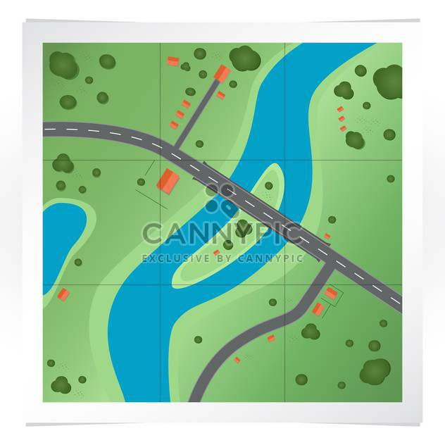 Vector illustration of colorful road map of town with signs and symbols - Free vector #125791