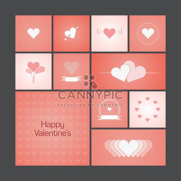 Vector illustration of greeting cards with hearts for Valentine's Day - Free vector #125811