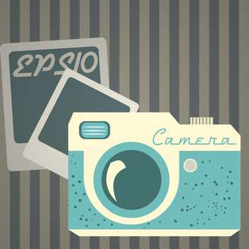 Vector illustration of retro photo camera on grey background with stripes - vector gratuit #125851