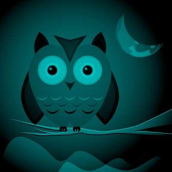 Vector illustration of wild owl sitting on branch on dark night background - vector gratuit #125901