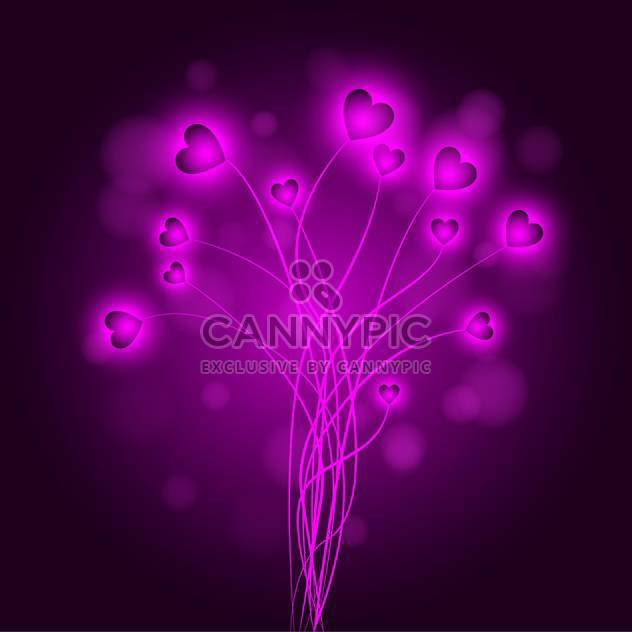 Vector abstract background with purple hearts - Free vector #125961