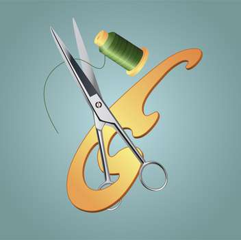 Vector illustration of sewing tools on grey background - Free vector #125981