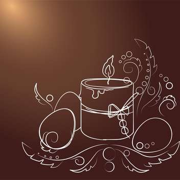 Vector illustration of brown Easter background with drawing eggs and candle - Free vector #126011