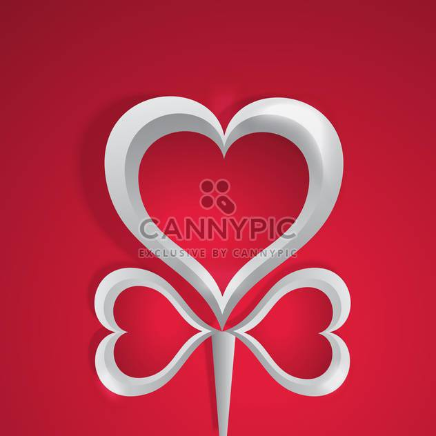 Vector background with white hearts on red background for valentine card - Free vector #126021