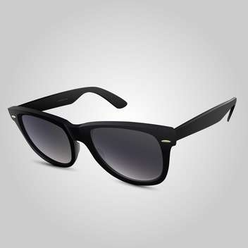 Vector illustration of plastic black sunglasses on grey background - Free vector #126061
