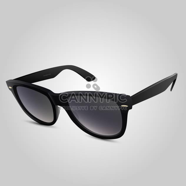 Vector illustration of plastic black sunglasses on grey background - Free vector #126061