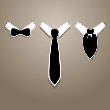 Vector illustration of tie and bow tie with neckerchief on grey background - Free vector #126081