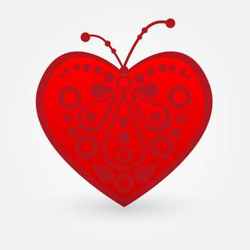 Vector illustration of art red heart on white background - vector gratuit #126101