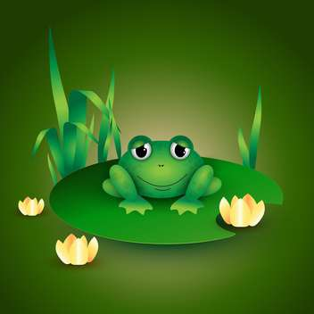 colorful illustration of green frog sitting on water lily leaf - vector gratuit #126111