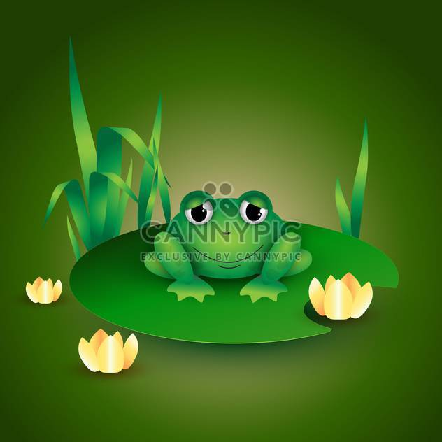 colorful illustration of green frog sitting on water lily leaf - Free vector #126111