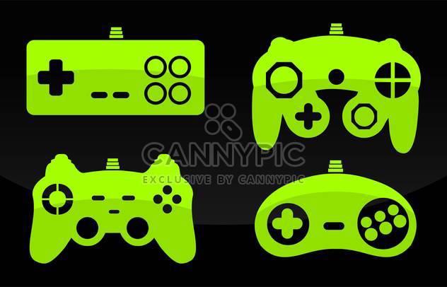 Vektor-Illustration Grünfärbung Gamepads Joysticks auf schwarzem Hintergrund - Kostenloses vector #126131