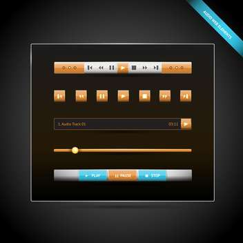 Media control navigation panel with video web elements - vector gratuit #126161