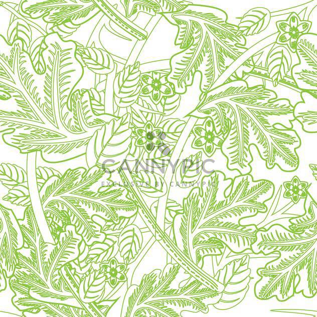 Vector floral background in white and green colors with ornate leaves - Free vector #126231