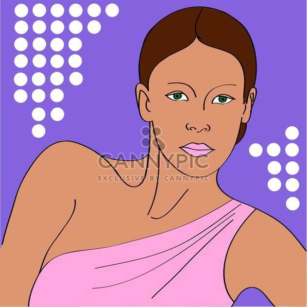 Vektor-Porträt der Frau im Rosa Kleid auf Lila Hintergrund - Kostenloses vector #126271