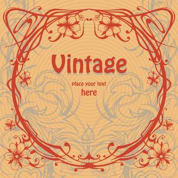 Vector vintage brown background with red floral pattern - vector gratuit #126281
