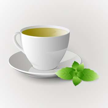 Vector cup of green tea on white background - бесплатный vector #126311