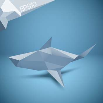 Vector illustration of origami paper shark on blue background - vector gratuit #126331
