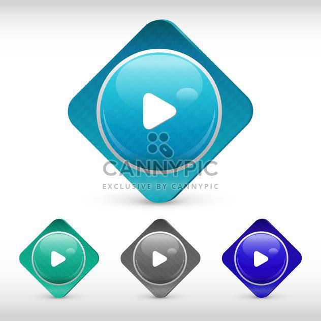 Vektor spielen Web-Rechteck-Buttons auf weißem Hintergrund - Free vector #126351