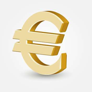 Vector golden color euro sign on white background - vector gratuit #126361