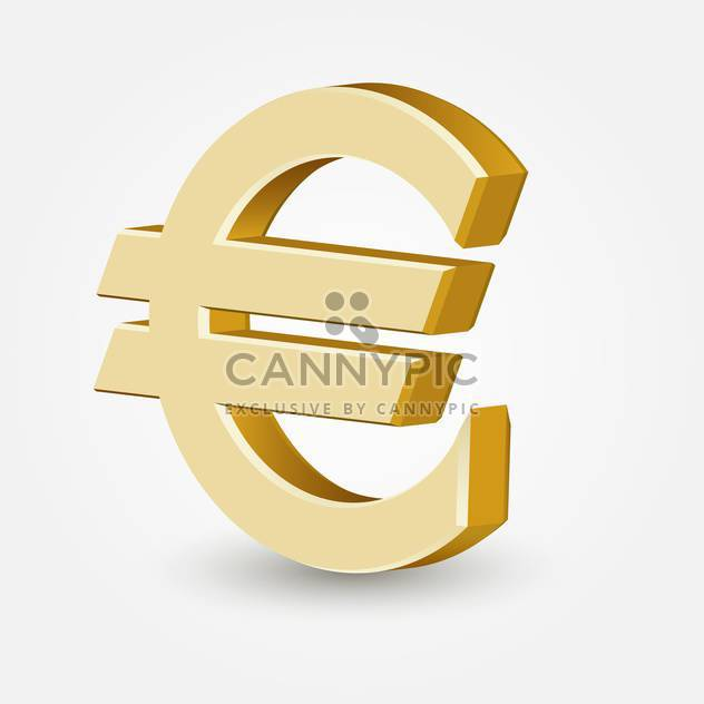 Vector golden color euro sign on white background - Free vector #126361