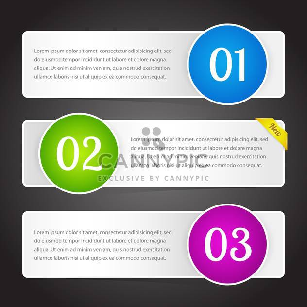 vector illustration of banners with colorful numbers and text place - Free vector #126411