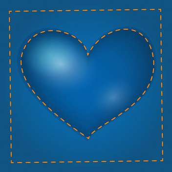 Vector illustration of blue heart with stitch - Free vector #126501