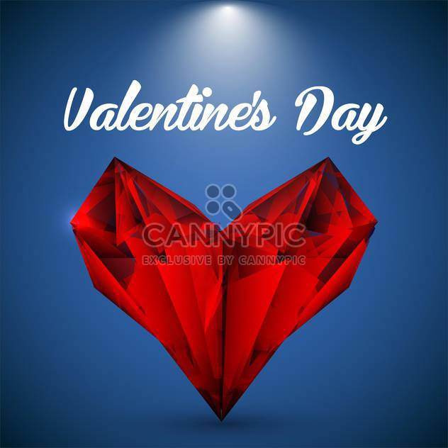 Vector red crystalline heart on greeting card for Valentine's day - Free vector #126561