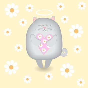 Vector illustration of angel cat with heart in hands on yellow flower background - vector gratuit #126591