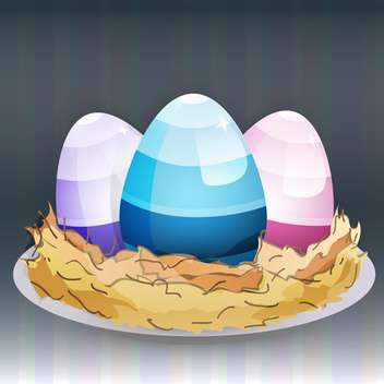 Vector illustration of colorful easter eggs in nest - бесплатный vector #126621