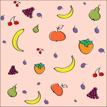 Vector pink background with juicy fruits - vector gratuit #126641