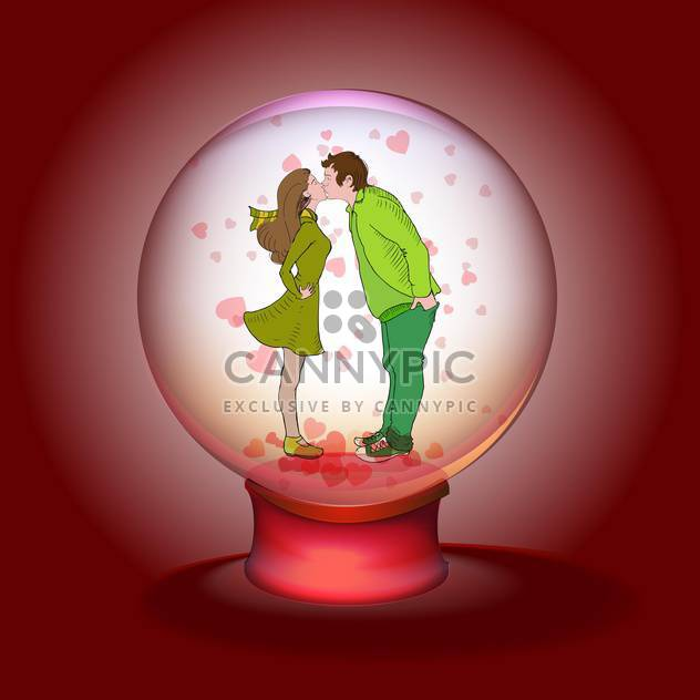 kissing couple in magic ball on red background - Free vector #126671