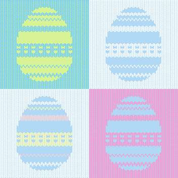 Vector illustration of knitted easter card with painted eggs - Free vector #126691