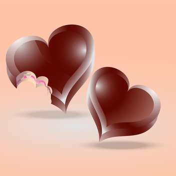 heart shaped chocolate cakes on pink background - vector gratuit(e) #126731