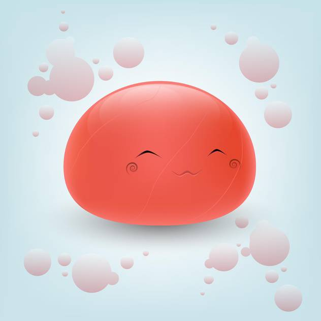 Cute red face on blue background - Free vector #126741
