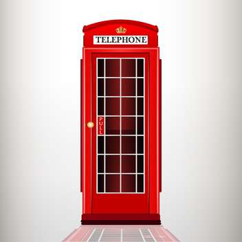 Vector illustration of english red telephone booth on grey background - vector gratuit(e) #126761