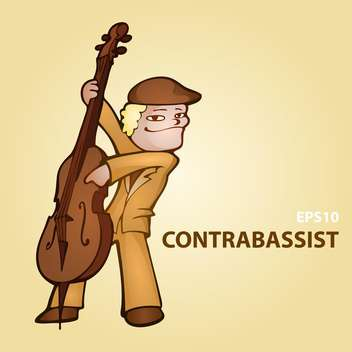Vector cartoon contrabassist on brown background - бесплатный vector #126791