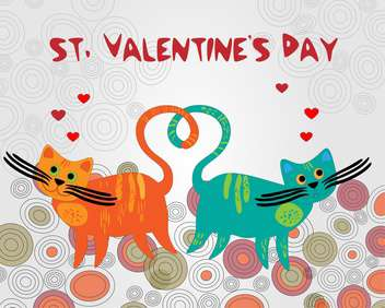 Vector colorful background with cats for Valentine's day - бесплатный vector #126811