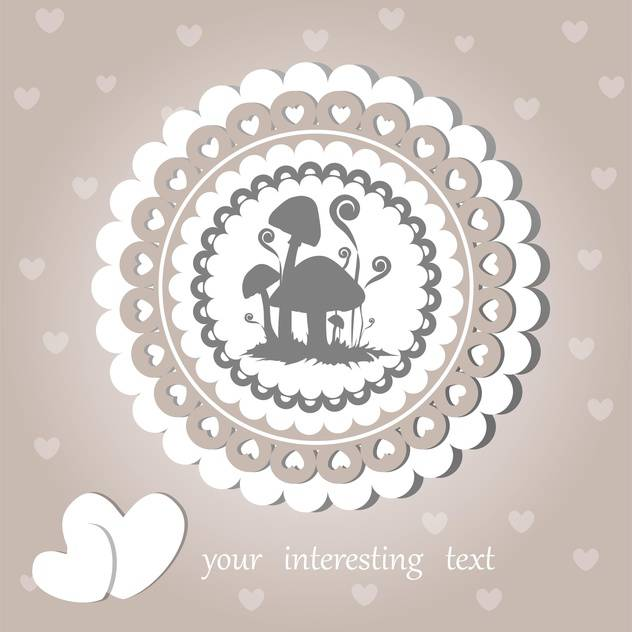 Vector vintage background with mushrooms and cute hearts - Free vector #126851