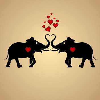 Vector background with black elephants in love with red hearts - бесплатный vector #126881
