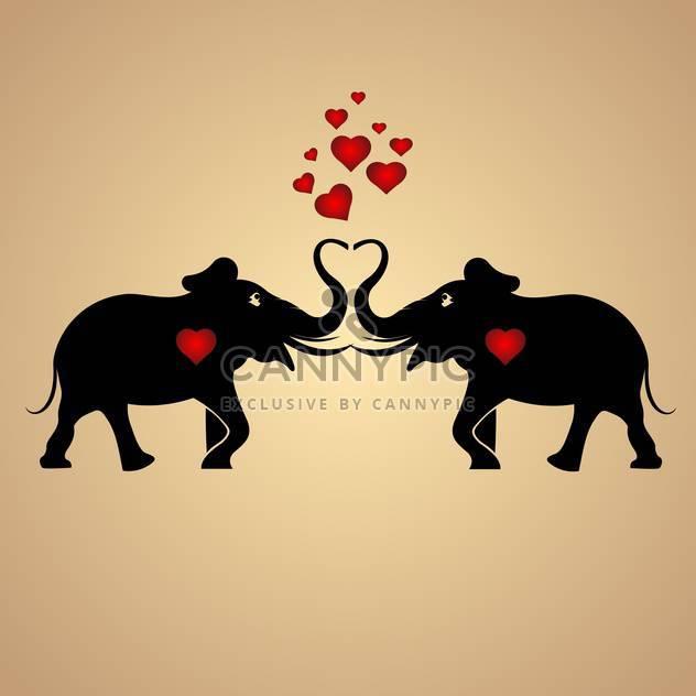 Vektor-Hintergrund mit schwarzen Elefanten verliebt mit roten Herzen - Free vector #126881