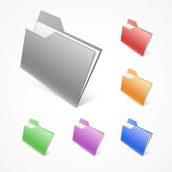 Vector illustration of colorful folders on white background - vector #126891 gratis
