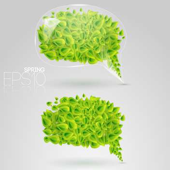 speech bubbles of green leaves on grey background - Free vector #126971