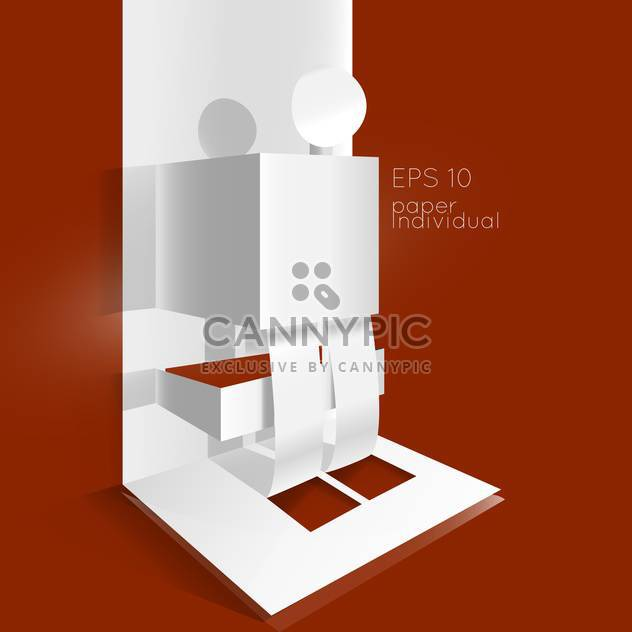 vector banner with paper man on brown background - Free vector #126991