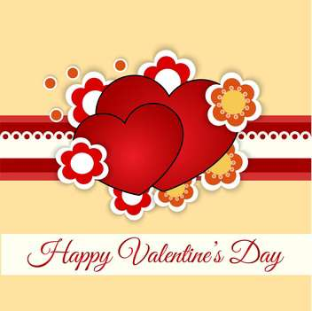 Vector greeting card with hearts and flowers for Valentine's day - vector gratuit(e) #127081