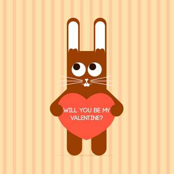 Vector cute rabbit with Valentine card and text place - vector gratuit #127121