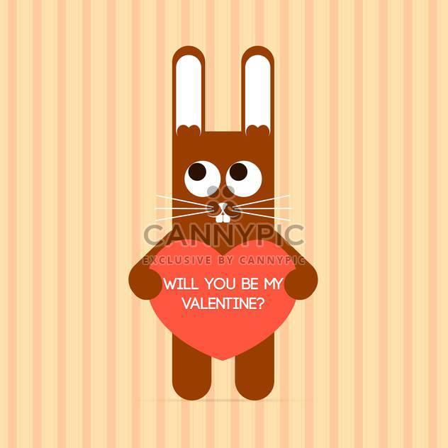 Vektor niedliche Kaninchen mit Valentinstags-Karte und Text platzieren - Kostenloses vector #127121