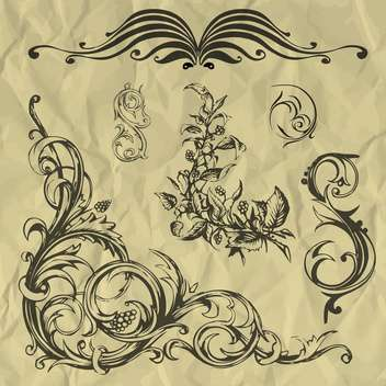 Vector vintage floral elements on crumpled paper - Free vector #127261